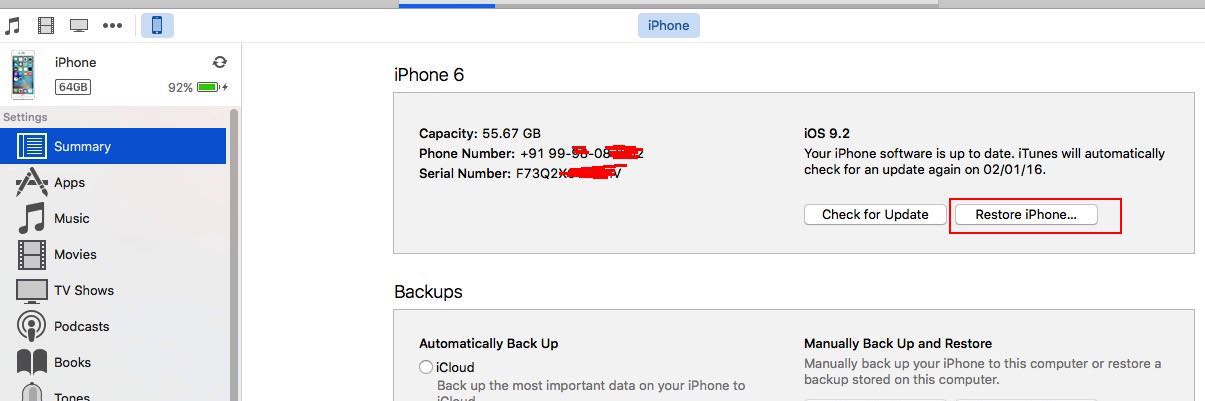 Start restore old backup to iPhone, iPad using iTunes on Mac or PC