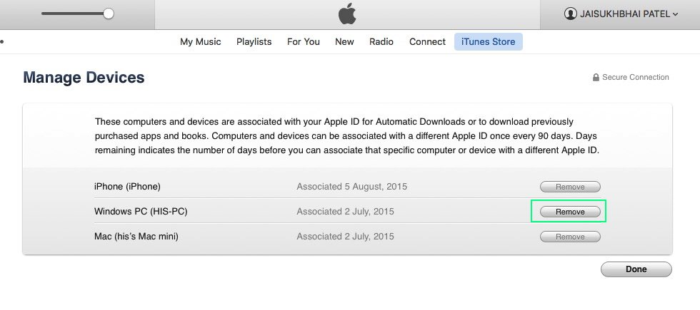 Remotely sign out apple id on iTunes Mac/ PC