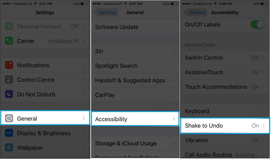 How to disable Shake to Undo on iPhone 6s Plus on iOS 9