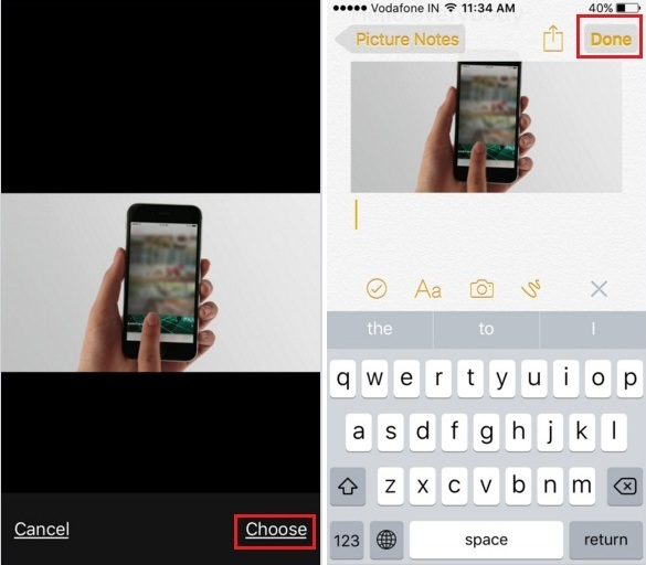 Guide to add picture in notes app on iPhone