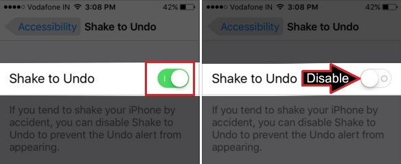 turn off Shake to Undo on iPhone, iPad, iPod Touch iOS 9