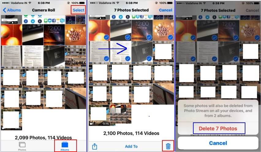 delete multiple photos on iPhone and iPad