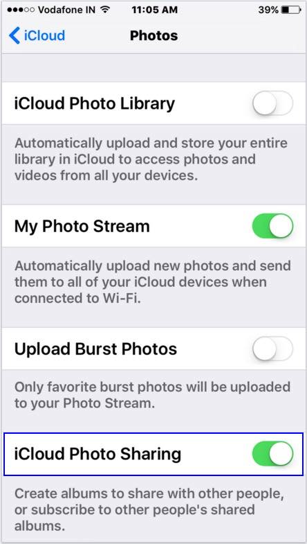 Enable icloud photo on iPhone, iPad