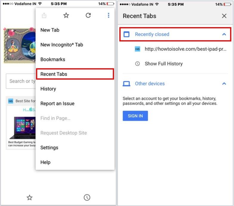 google chrome iOS app, recently closed tab