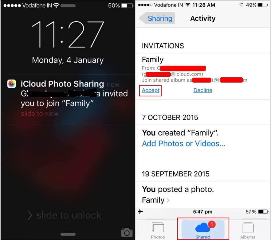 photo sharing notification on notification center