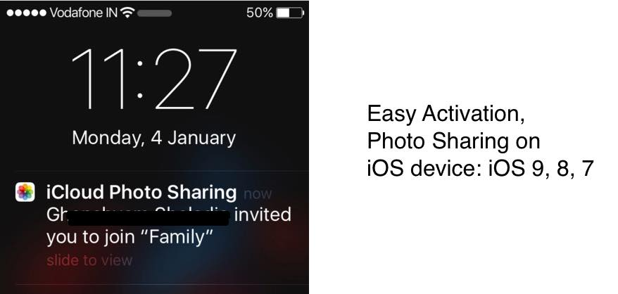 turn on photo sharing on iPhone running on iOS 9 or 8